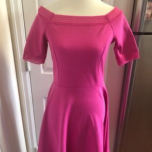 Just Fab Hot Pink Stretch Fit Flare Dress Size Med